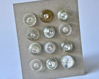 Vintage Rhinestone in Clear Settings Buttons for Crafts and Sewing