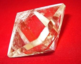 Extra Large Octahedron Platonic Quartz Crystal, 2.5 Inches, Beveled Edges, Brazil, Enhancement, Sacred Geometry, Amplification, WICCA