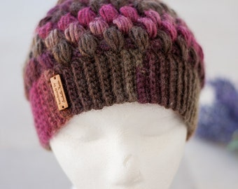 Multicolored Puff Stitch Hat, Crochet Hat With Ribbed Brim, Puff Stitch Beanie