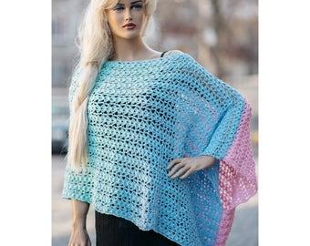 Summer multicolour chrochet hanmade poncho peady to ship