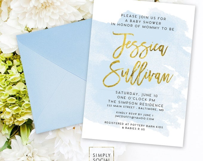 Blue Baby Shower Invitation - It's a Boy Faux Gold Foil Boho Watercolor Boy Shower Invite Modern Calligraphy Printable Party Invite