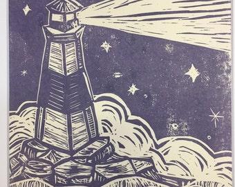 Lighthouse Linocut Print