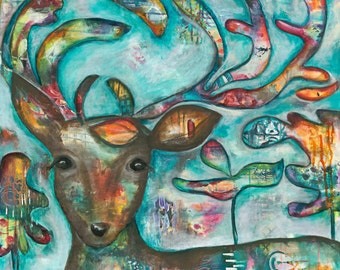 """Deer canvas, painting, abstract art, 3/4"""" thick canvas print, Acorn"""