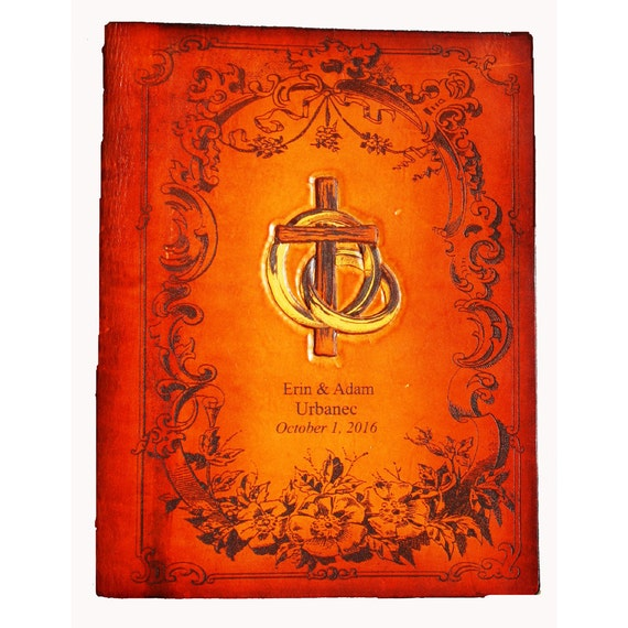 Handcrafted Leather Family and or Wedding NAB Catholic Bible
