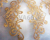 4p Glitter Gold Corner Edge Iron On Patch Applique Dokoh Vintage Look Lace Motif Heat Transfer Decals Stickers Embellishment Sewing