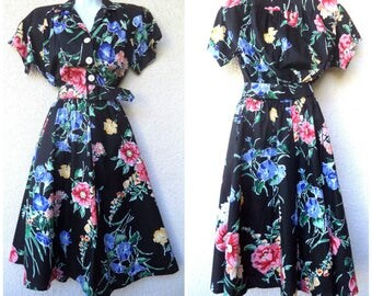 1950s Style Dress. Shirtwaist DRESS. Full Skirt. Floral Dress. 1980s does 50s Dress. Rockabilly Dress. Lucy Dress. Belted Dress. M to L