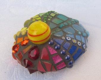 Rainbow Mosaic Stone - letterweight - large