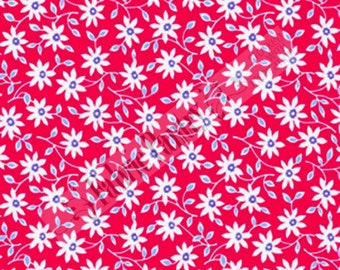 RED Daisy Vine Quilt Fabric - 1930's reproduction ~ Pam Kitty - LakeHouse Dry Goods - Holly Holderman - LH 14006 ~ 1/2 Yard