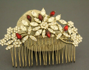 Wedding hair comb,Vintage gold tone Bridal hair comb,Ruby Bridal hair clip,Wedding hair accessories,Bridal headpiece,Wedding hair clip,Red