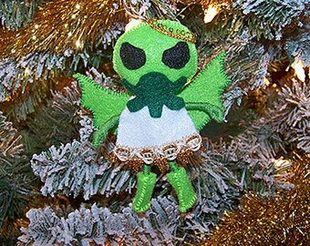 Cthulhu Angel bendy felt Christmas ornament, tree ornament, monster ornament- Clearance