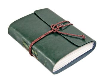 Vegan Forest Green Faux Leather Journal with Lined Paper - Vegan - Ready to Ship - BoundByHand -