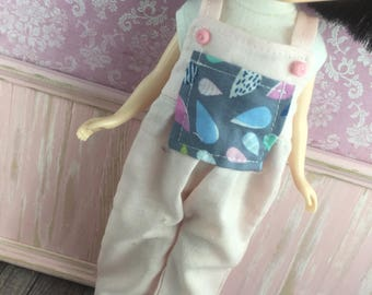 Blythe Overalls - Pink with Raindrops