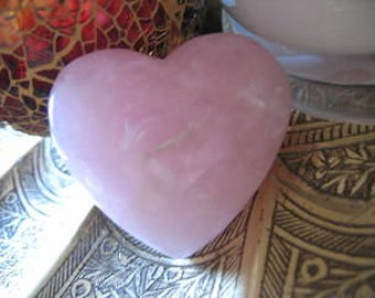 Pink ROSE QUARTZ A grade Solid HEART Crystal to bring Love into your Life