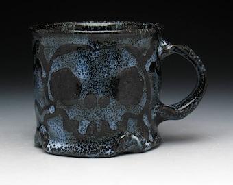 Skull & Crossbones Coffee Mug in Black and Blue Glaze