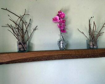 Rustic Log Floating Shelf, Natural Edge Shelf, Live Edge Floating Shelf