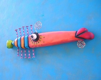 Fish Wall Art, Cigar Fish, Original Found Object Wall Sculpture, Wood Carving, Wall Decor, by Fig Jam Studio