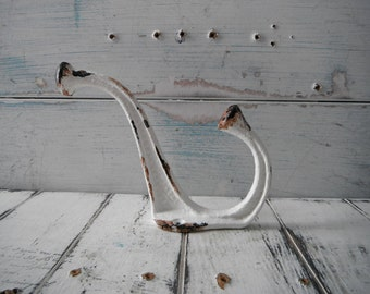 single painted hook rusty patina hook aged hook french country rustic decor coat hook clothing hook farmhouse decor towel holder LARGE hook