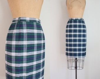 1950s plaid pencil skirt - 50s wiggle skirt / blue & green plaid skirt - tartan plaid skirt / vintage 50s summer skirt
