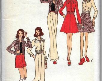 Vintage 70s Butterick 3105 Daniel Hechter Young Designer Sporty Wardrobe Jacket, Skirt, Pants, Shorts Sewing Pattern Size 10 Bust 32.5