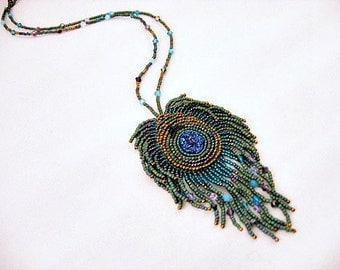 Peacock Bead Embroidered Necklace,  Druse Necklace, Seed Bead Peacock Necklace, Beaded Necklace, Embroidered Necklace, Fringe Necklace,