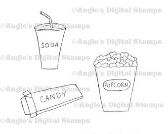 Movie Night Digital Stamp Set