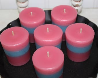 New- 3 Pk - COTTON CANDY Scented Primitive Votive Candle Set Highly Scented