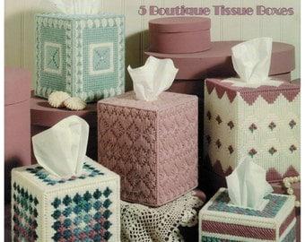 Leisure Arts 1300 Pretty Patterns in Plastic Canvas - 5 Boutique Tissue Boxes