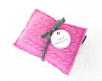 Hand Warmers HOT PINK & BLACK Reusable Handwarmers Cashmere Wool Rice Bags Eco Friendly Stocking Stuffer Gift by WormeWoole