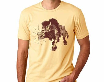Funny Beer Shirt, Beer TShirt, Beer Drinking Bison Shirt, Craft Beer Shirt, Buffalo Shirt, Homebrewer, Homebrewing, Beerfest, Spirit Animal