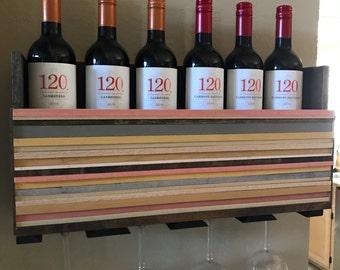 Wall Mounted Wine Rack Holder - Wine Glass Holder - Housewarming Gift - Wine Rack - Wood Wall Art- Organizer - Wedding Gift