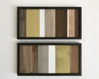 Wood Wall Art - Wood Art - Reclaimed Wood Art - Color Block Collection - 12x24 set