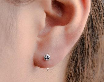 Dainty White Zirconia Hug Hoops, Sterling Silver Gold Plated, Gemstone Earrings, Open Hoop, Minimalist Lunaijewelry, Handmade Gift EAR039WCZ