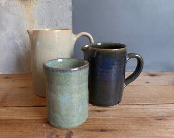 vintage traditional & handmade french glazed pottery  2 Small Jugs and pot