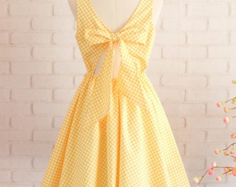 Yellow dress Yellow party dress Yellow plaid dress Yellow sundress Yellow backless dress Yellow Bridesmaid dresses Plaid Bridesmaid dress