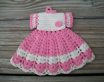 My Best Dress, Vintage Pink Potholder,Pink Dress Potholder