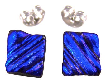 "Tiny Dichroic Post Stud Earrings - 1/4"" 8mm - Deep Cobalt Blue Waves Ripples Fused Glass Studs"