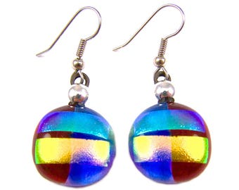 """Dichroic Earrings Red Blue Green Yellow - Striped Rock Drop Dangle Surgical Steel French Wire or Clip On - Fused Glass - 3/4"""""""