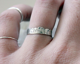 Landscape Mountain Range Ring Sterling Silver Ring Nature Inspired Woodland Jewelry Gifts for Her Gifts for Him Unisex Ring Gift Idea