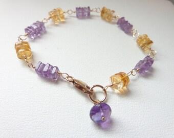 amethyst citrine bracelet wire wrap bracelet purple gold Heist squares citrine tyres gemstone bracelet