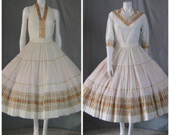 1950's White and Gold Patio Dress Set Mexican Dress Circle Skirt And TWO Different Top Halter Blouse Western Viva Las Vegas Rockabilly Vlv