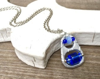 SODA TAB NECKLACE - royal blue and light blue - soup pull necklace - upcycled/recycled jewelry - under 20.00