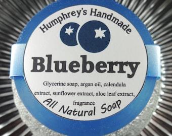 BLUEBERRY soap, Sweet Blueberry Shave & Shampoo Soap, Round Blue Puck, Argan Oil, Aloe, Calendula, Beard Wash, Unisex Men's Women's