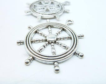 5pcs 40x45mm Antique Silver Rudder Steering Wheel Charm Pendant c6503