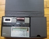 Fall Sale VINTAGE Sharp PC-1261 Pocket Computer & Sharp CE-125 Microcassette and Printer Base Unit