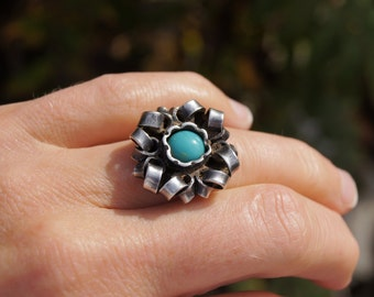 Art Deco Silver Polish Turquoise Ring