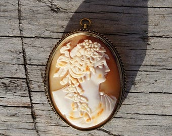 Spring SALE Victorian 14K Large Shell Cameo Brooch and Pendant