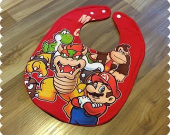 Mario, Bowser, Yoshi Baby Bib, Recycled T-Shirt Baby Bib, Video Games, Baby Boy Gift Baby Shower