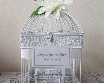 Large White Bird Cage-Wedding card holder