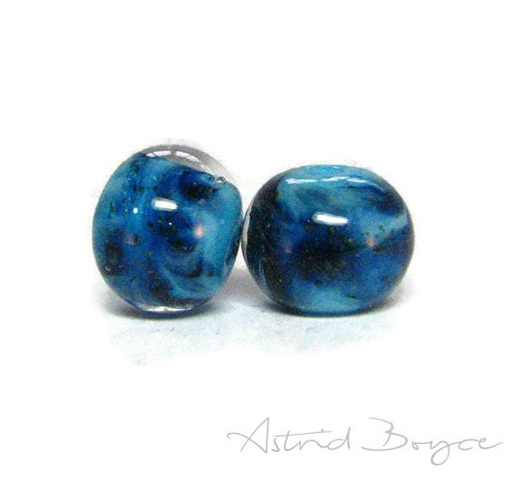 Blue Glitter Artisan Lampwork Art Glass Lampwork Bead Pair - Free USA Shipping - Glittering Adventurine paired with Lapis Blue and Turquoise
