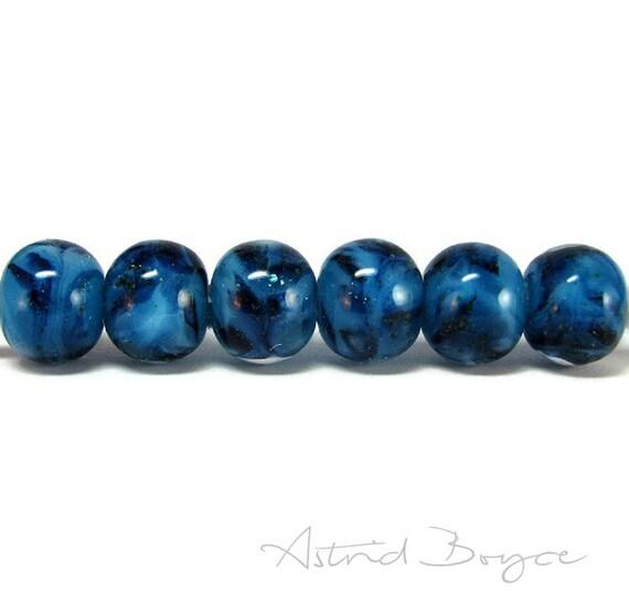 Blue Glitter Artisan Lampwork Glass Beads 6 piece set - Self Representing Artist SRA B195 - Small 10mmx12mm glass beads with glittering blue